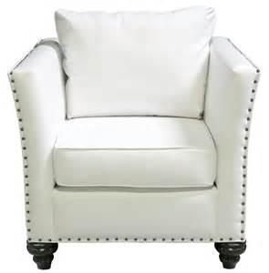 White Wingback Chair Nailhead Chair White Leather Designer8