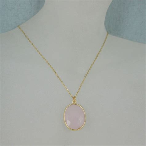16 Necklace Gold Pink bezel gemstone oval pendant necklace gold plated chain