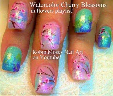 nail art cherry blossom tutorial easy cherry blossom nails watercolor nail art design