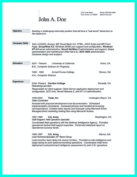 resume template computer science the best computer science resume sle collection