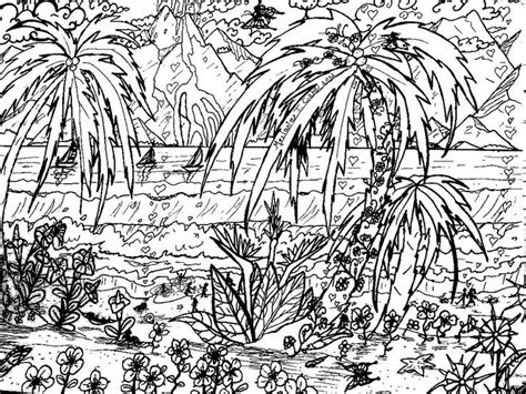 coloring pages tropical island landscape coloring pages for adults tropical beach