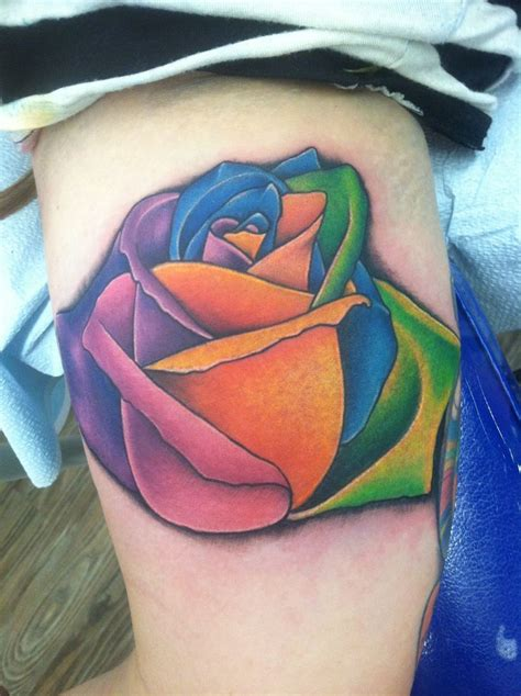47 best colorful rose tattoo images on pinterest