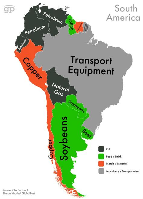 south america resources map this map shows which export makes your country the most