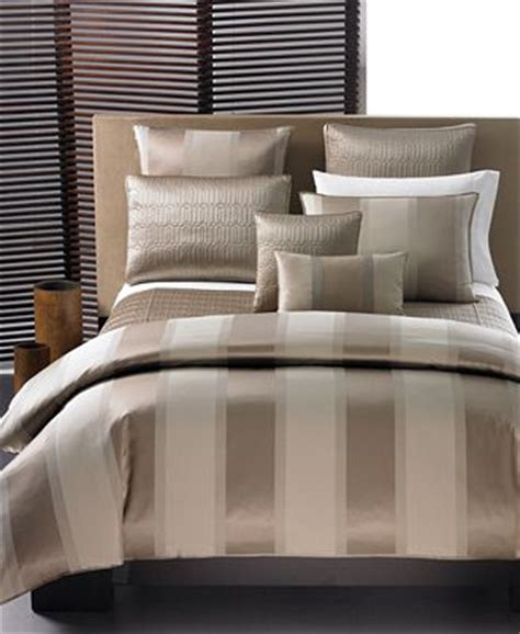 closeout comforters closeout hotel collection quot wide stripe bronze quot bedding