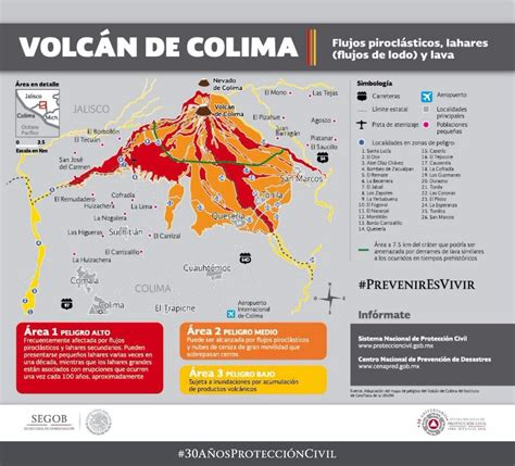 imagenes placas rojas map area near the colima volcano in mexico which has