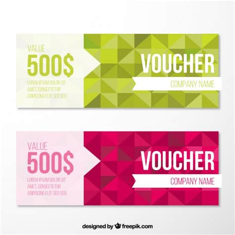 geometrical voucher pack vector free download