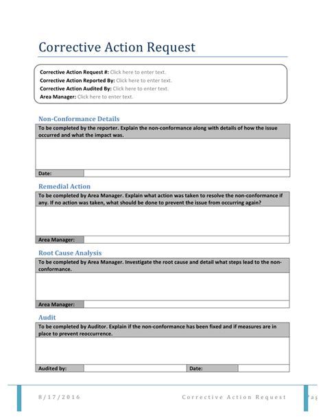 Corrective Action Request Form Template corrective request form in word and pdf formats