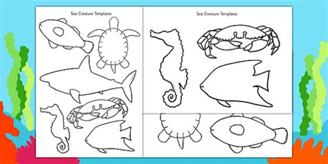 templates for under the sea creatures cut out sea creature templates under the sea creatures