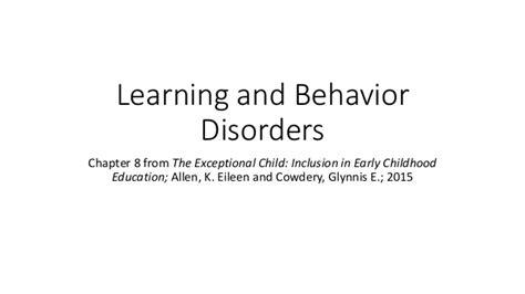 learning and behavior learning and behavior disorders