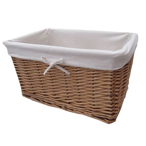 bathroom storage wicker baskets buy natural wicker lined storage basket from the basket company