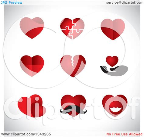heart layout app clipart of red heart app icon design elements over shading