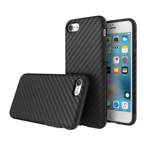 Protective Covers by Rock Carbon Fiber Series Tpu Pu Phone Protective Back