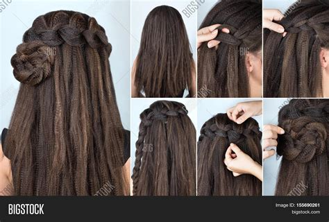 hairstyles for long hair braids steps fascinating hairstyle for party medium long hair image