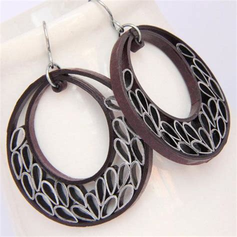Earring With Paper - you to see burgundy paper quilling crescent earring