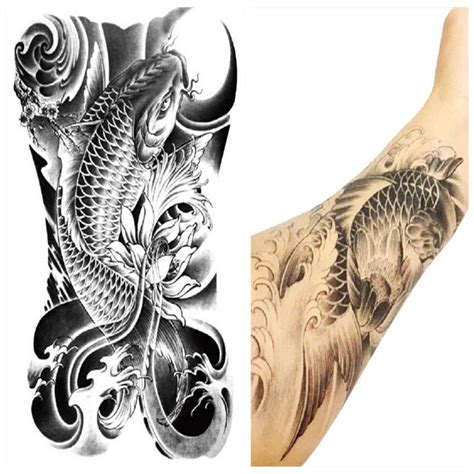 selling tattoo designs arm leg 3d carp graphic waterproof temporary
