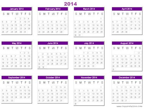 2014 printable free calendar with all 12 months on one
