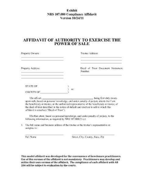 bill of sale form nevada affidavit for service by