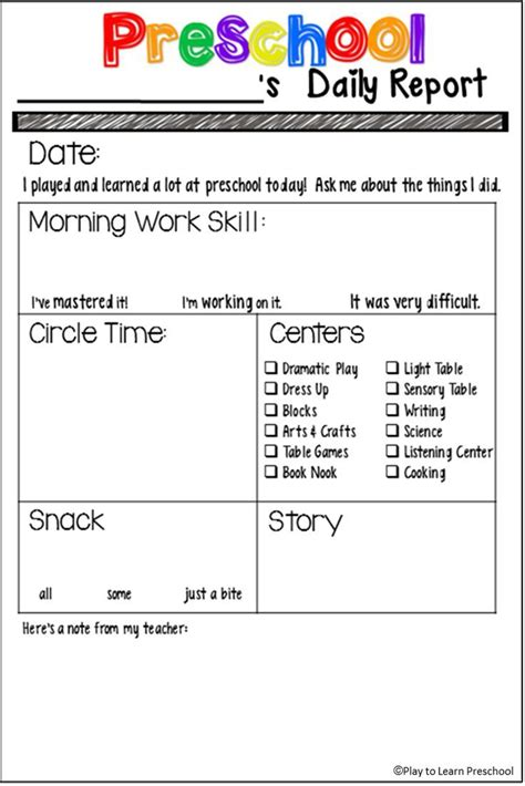 25 best ideas about preschool daily sheet on pinterest