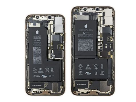 ifixit tear of the iphone xs and iphone xs max finds notched batteries bigger sensor