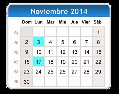 Calendario Noviembre 2014 Calendario De Noviembre 2014 Con Fechas De Dias Festivos