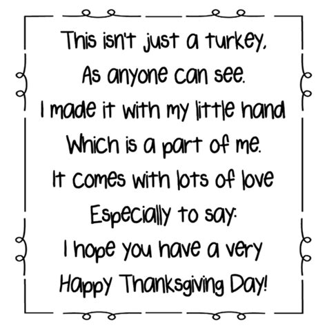 Printable Turkey Handprint Poem | turkey handprint poem printables a to z teacher stuff