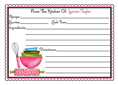 free custom card template personalized recipe cards littlebeane mixing bowls kitchen