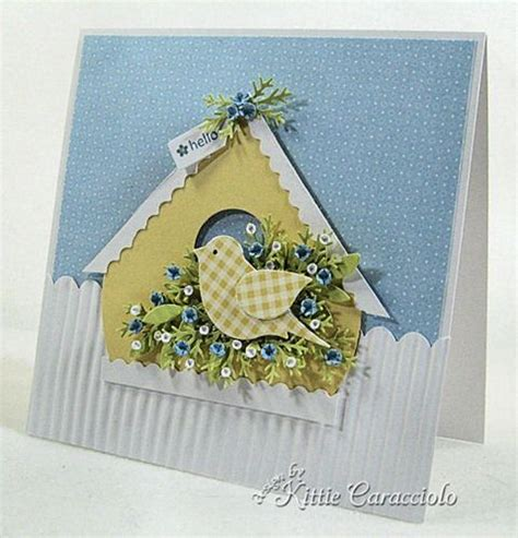 Yellow House Handmade - handmade card with yellow gingham bird made with the bird