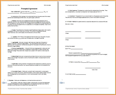 sle prenuptial agreement template best resumes