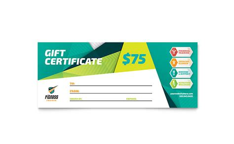 Fitness Gift Card Template by Fitness Trainer Gift Certificate Template Design