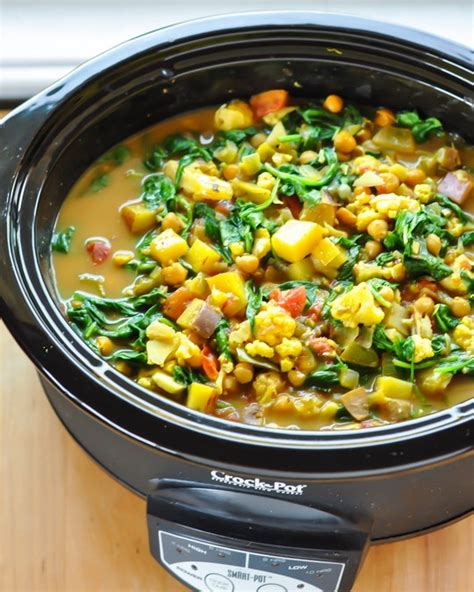 Vegie Green Pot cooker recipe curried vegetable and chickpea stew