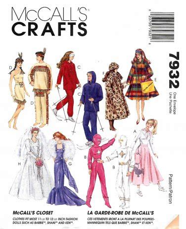 fashion doll sewing patterns mccall s sewing pattern 7932 doll clothes 11 1 2 quot