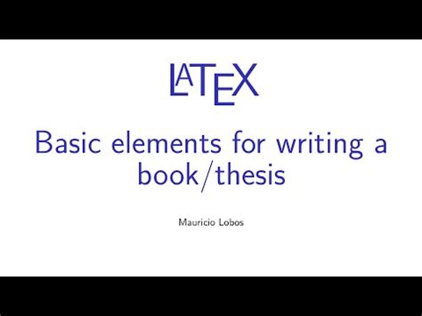 latex hyperref tutorial latex basic elements for writing a book thesis