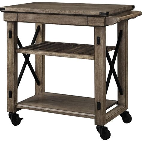 Kitchen Islands With Stools wood veneer rolling cart in rustic gray 5279096pcom