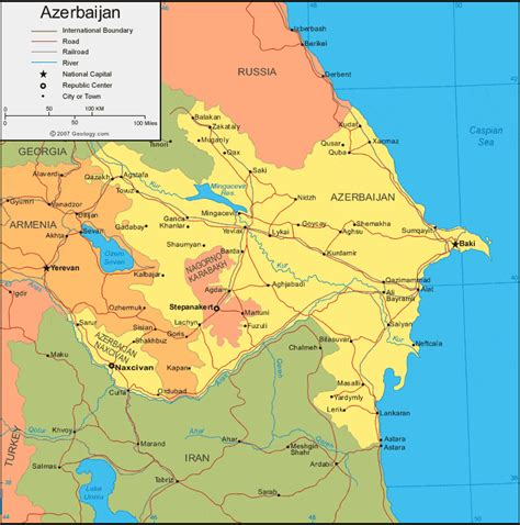 political map of azerbaijan nations online project azerbaijan map and satellite image