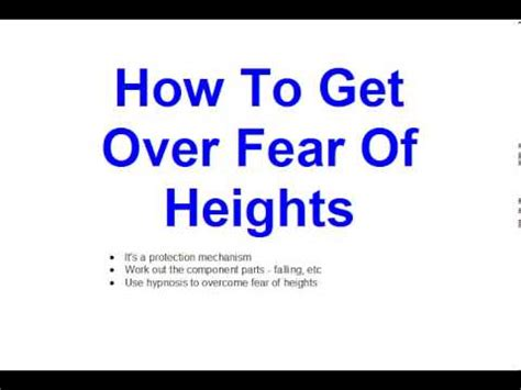 how to get how to get over fear of heights youtube