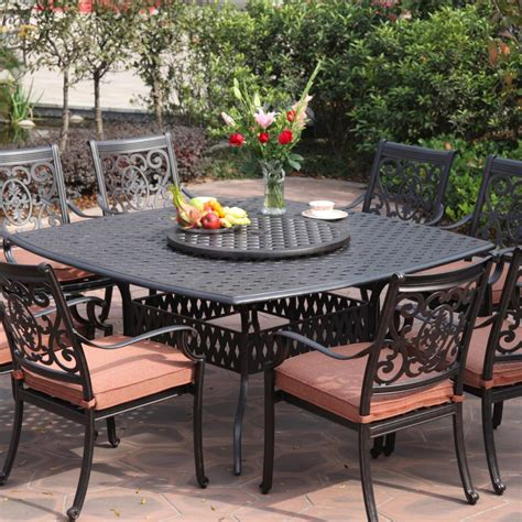 Patio Furniture Dining Darlee St 9 Cast Aluminum Patio Dining Set With Lazy Susan Ultimate Patio