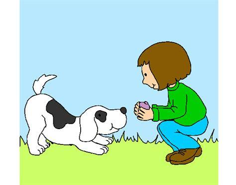 imagenes de niños jugando con un perro dibujo de ni 241 a y perro jugando pintado por silvioa en