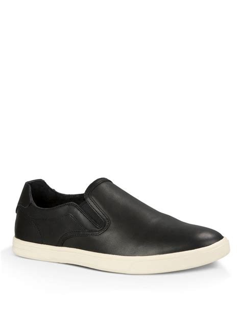 black sneakers for ugg tobin leather slip on sneakers in black for lyst