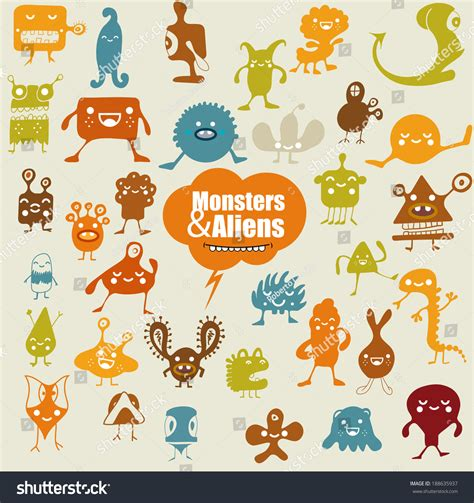many doodle monsters images many doodle monsters stock vector 188635937