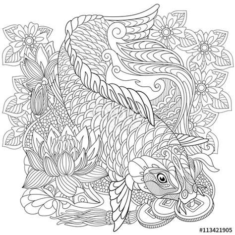 """Zentangle stylized cartoon koi carp, isolated on white"
