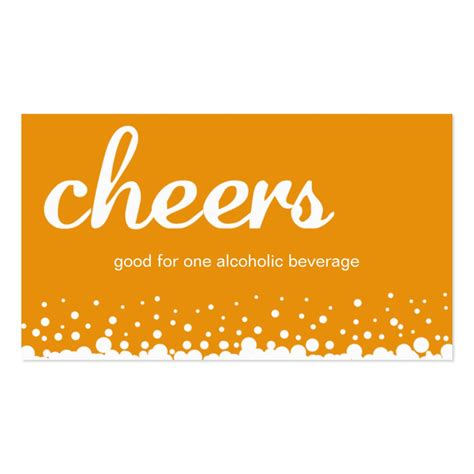 Orange Cheers Bubble Wedding Custom Drink Ticket Business Cards Drink Ticket Template