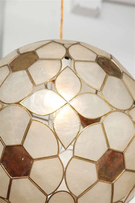 Capiz Shell Light Fixture 1960s Capiz Shell Floral Globe Light Fixture For Sale At 1stdibs
