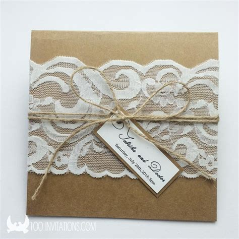 Handmade Lace Wedding Invitations - handmade rustic and chic lace wedding invitations with