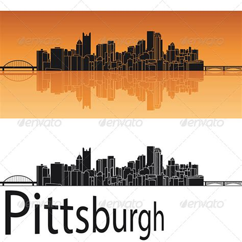 pittsburgh skyline in orange background graphicriver