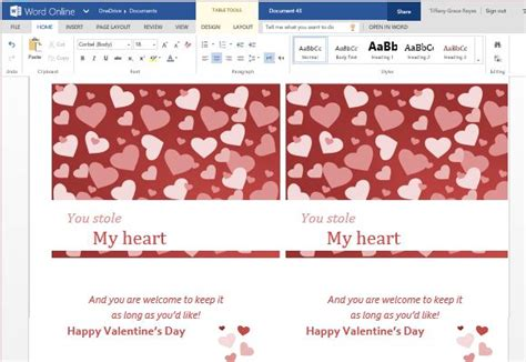valentines cards template wor cards maker template for word