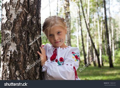 pre russian preteenage girl ukrainian russian style shirt stock photo