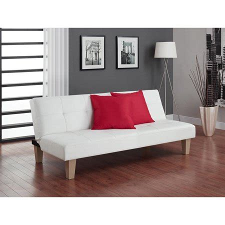 sofa center san leandro dhp futon sofa bed white faux leather upholstery