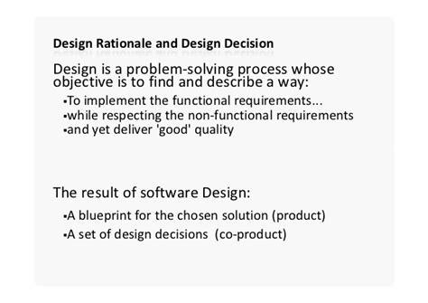 design rationale definition software architecture design decisions