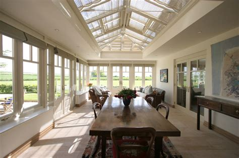 Window Treatments For Large Windows Orangery Dining Room Contemporary Dining Room Other
