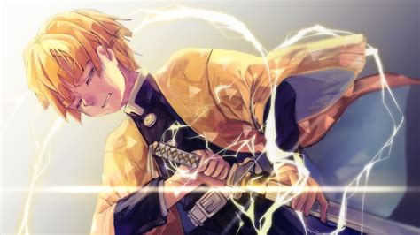 demon slayer zenitsu agatsuma  lightning sword hd